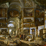 Gallery with views of famous, ancient buildings and sculptures, Giovanni Paolo Panini