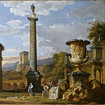 Giovanni Paolo Panini - Capriccio of Roman Ruins with the Pantheon