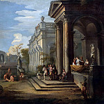 Giovanni Paolo Panini - AN ARCHITECTURAL CAPRICCIO WITH FIGURES AT A BALCONY AND BATHERS IN A POOL NEARBY