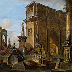 Capriccio with Roman ruins and the Arch of Constantine, Giovanni Paolo Panini