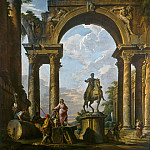 Ruins with the Statue of Marcus Aurelius, Giovanni Paolo Panini
