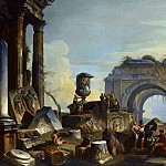 Giovanni Paolo Panini - AN ARCHITECTURAL CAPRICCIO WITH FIGURES AMONGST ANCIENT RUINS