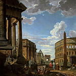 An architectural capriccio with figures among Roman ruins including the the Temple of Saturn, Arch of Constantine, Temple of Vesta, Arch of Drusus, the Colosseum, Temple of Castor and Pollux, Basilica of Maxen, Giovanni Paolo Panini