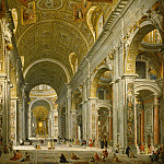 Giovanni Battista Tiepolo - Panini, Giovanni Paolo -- Interior of St. Peter's - Rome, 1750