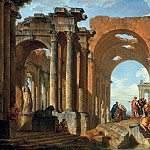 Giovanni Paolo Panini - Architectural Capriccio with Figures discoursing among Roman Ruins