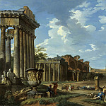 A VIEW OF THE CAMPO VACCINO WITH THE TEMPLE OF JUPITER STATOR, THE ARCH OF TITUS, THE COLOSSEUM, THE BASILICA OF MAXENTIUS, THE TEMPLE OF ANTONINUS AND FAUSTINA AND THE TEMPLE OF CONCORD WITH THE BORGHESE VASE, Giovanni Paolo Panini