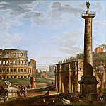 Capriccio with a view of the Colosseum and the Arch of Constantine, Giovanni Paolo Panini