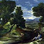 Nicolas Poussin - Landscape with a Man scooping Water from a Stream