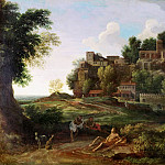 Nicolas Poussin - An Italianate landscape with figures resting