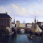 View of the Riddarholmskanalen, Stockholm, 1835, Gustaf Wilhelm Palm