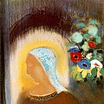 Odilon Redon - Redon Profile and flowers, 1912 Pastel on paper, 70.2 x 55.