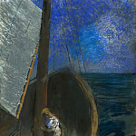Odilon Redon - Holy woman in a boat
