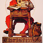 Norman Rockwell - Christmas_Santa_Reading_Mail