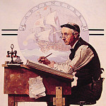 Norman Rockwell - Daydreaming_Bookeeper