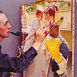 Norman Rockwell - Rockwell Painting the Soda Jerk