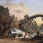 Hubert Robert - Draughtsman Drawing the Wooden Bridge in the Park of Méréville