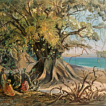 Carl Blechen - Spit of Land near El Manzanillo. Natives under Tropical Trees