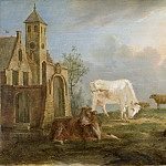 Nicolas Régnier - Landscape with Peasants and Cows
