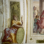 Musei Vaticani - fresco - Visitation Flanked by Allegorical Figures