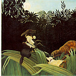 Henri Rousseau - Rousseau,H. Scout Attacked by a Tiger (Eclaireur attaque par