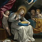 THE VIRGIN SEWING, ACCOMPANIED BY FOUR ANGELS, Guido Reni