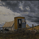 Johan Pasch - View of a Shore with the Artist's Wagon and Tent at Enö