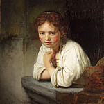 Rembrandt Harmenszoon Van Rijn - A Young Girl Leaning on a Window