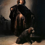 Rembrandt Harmenszoon Van Rijn - The Artist in an Oriental Costume, with a Poodle at His Feet