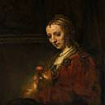 Rembrandt Harmenszoon Van Rijn - Woman with a Pink
