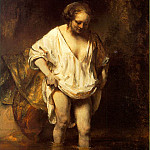 A Woman bathing in a Stream , Rembrandt Harmenszoon Van Rijn
