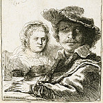 Rembrandt and His Wife Saskia, Rembrandt Harmenszoon Van Rijn