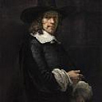 Rembrandt Harmenszoon Van Rijn - Portrait of a Gentleman with a Tall Hat and Gloves