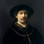 Rembrandt Harmenszoon Van Rijn - Self-portrait wearing a Hat and two Chains