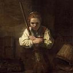 A Girl with a Broom, Rembrandt Harmenszoon Van Rijn