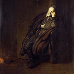 Rembrandt Harmenszoon Van Rijn - An Old Man Asleep at the Hearth