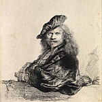 Rembrandt Harmenszoon Van Rijn - Self-Portrait Leaning on a Stone Sill