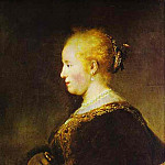 Rembrandt Harmenszoon Van Rijn - Portrait of a Young Woman with the Fan