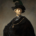 Rembrandt Harmenszoon Van Rijn - man in a gorget and black cap