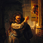 Rembrandt Harmenszoon Van Rijn - Simson threatened his father-in-law