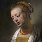 Rembrandt Harmenszoon Van Rijn - Young Woman with a Red Necklace (after)
