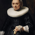 Rembrandt Harmenszoon Van Rijn - Portrait of a woman holding a glove [circle]