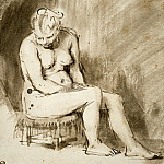 Nude Woman Seated on a Stool, Rembrandt Harmenszoon Van Rijn