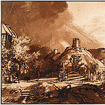 Cottages under a Stormy Sky, Rembrandt Harmenszoon Van Rijn