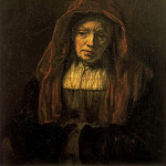 Old woman with headscarf , Rembrandt Harmenszoon Van Rijn