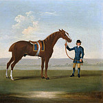 A Chestnut Horse possibly Old Partner held by a Groom