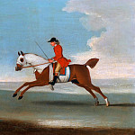 Galloping Racehorse and mounted Jockey in Red