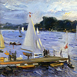 Sailing boats on the Alster Lake in the evening