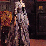 Alfred Stevens - Portrait of a woman in blue
