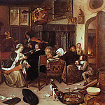 Jan Havicksz Steen - Steen The Dissolute Household, 1668, oil on canvas, Wellingt