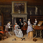 Jan Havicksz Steen - Fantasy Interior with Jan Steen and the Family of Gerrit Schouten